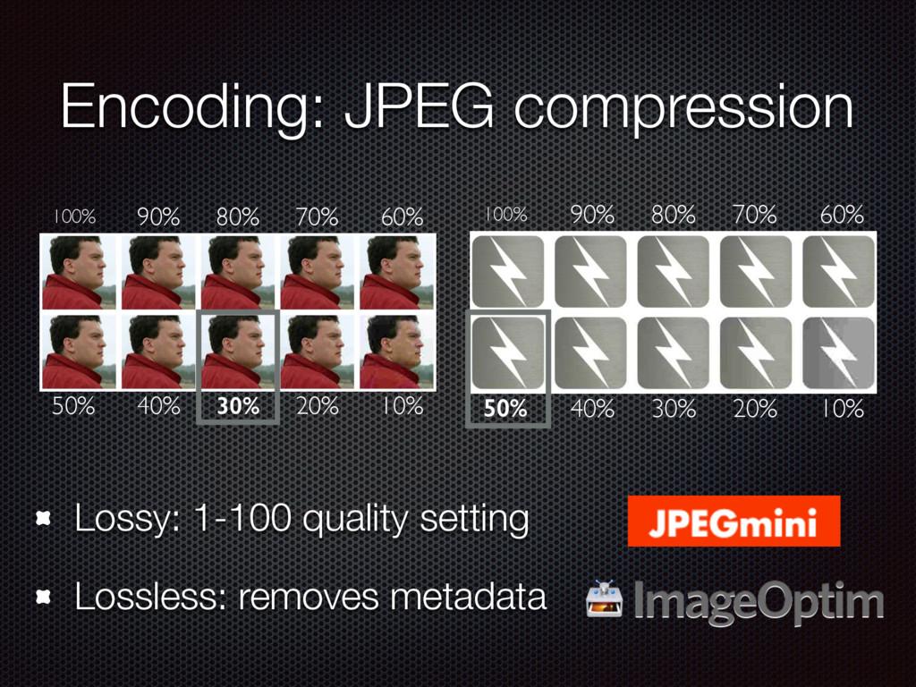 Encoding: JPEG compression Lossy: 1-100 quality...