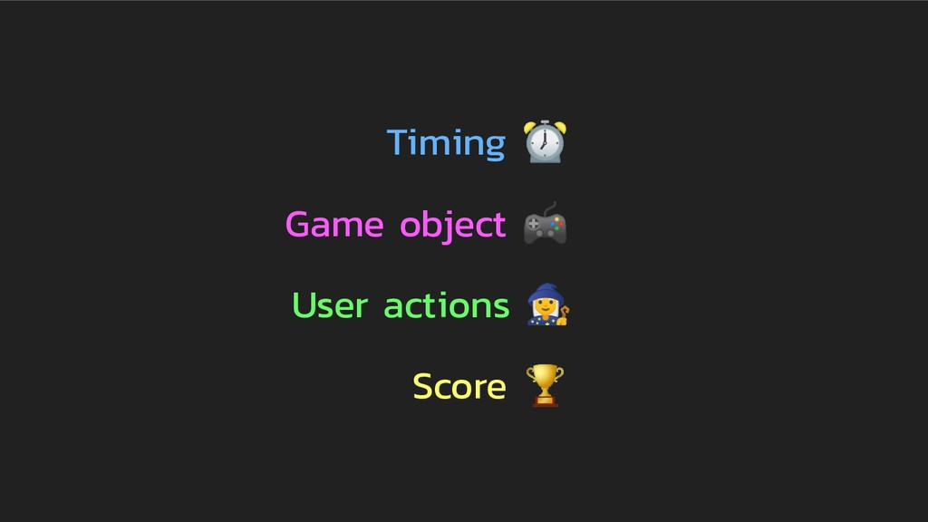 Timing ⏰ Game object  User actions  Score