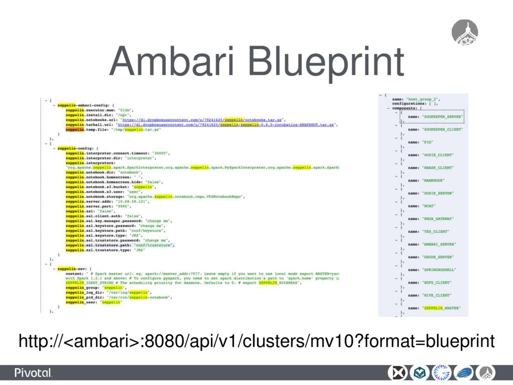 Ambari Blueprint http://<ambari>:8080/api/v1/cl...