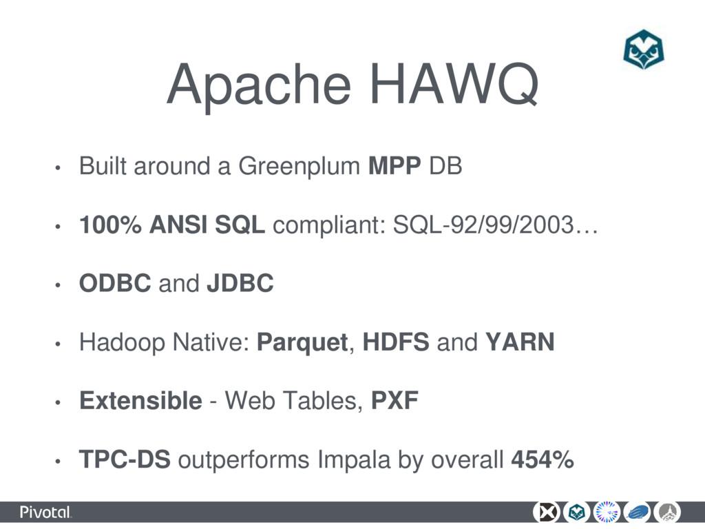 Apache HAWQ • Built around a Greenplum MPP DB •...