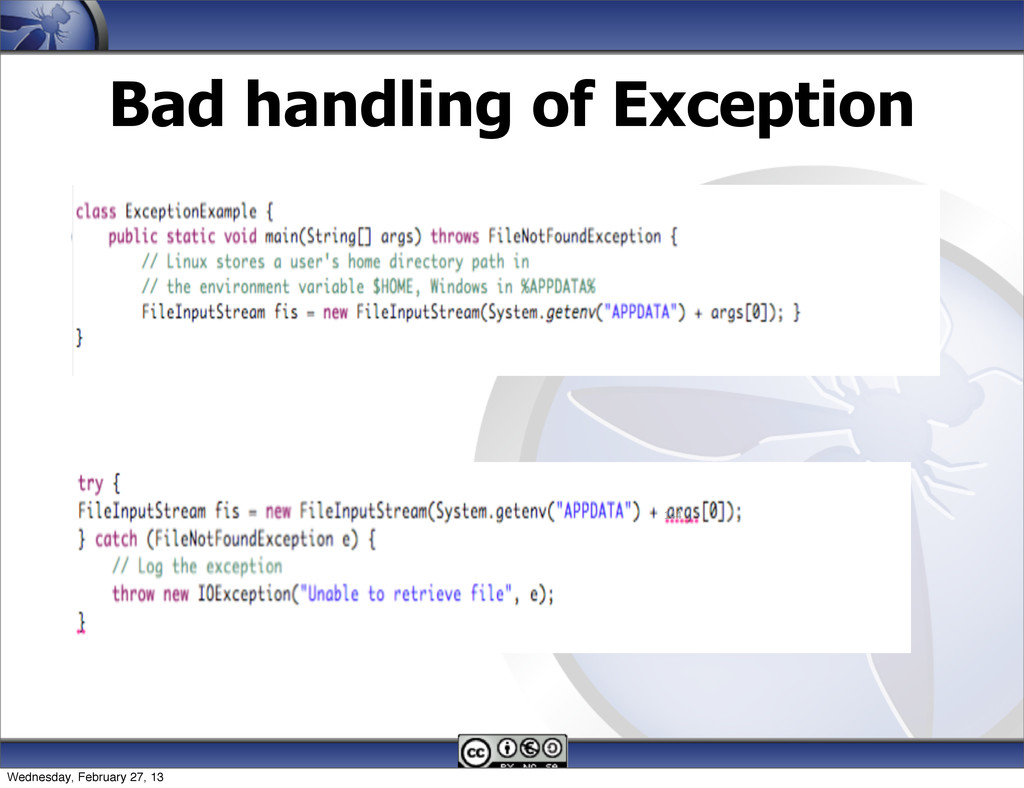 Bad handling of Exception 144 Wednesday, Februa...
