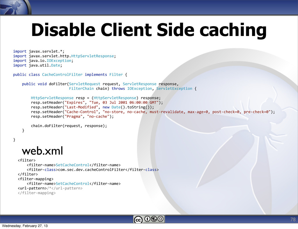Disable Client Side caching 78 import javax....