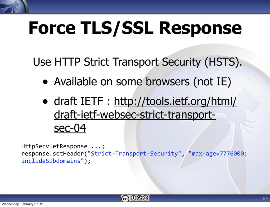 Force TLS/SSL Response Use HTTP Strict Transpor...