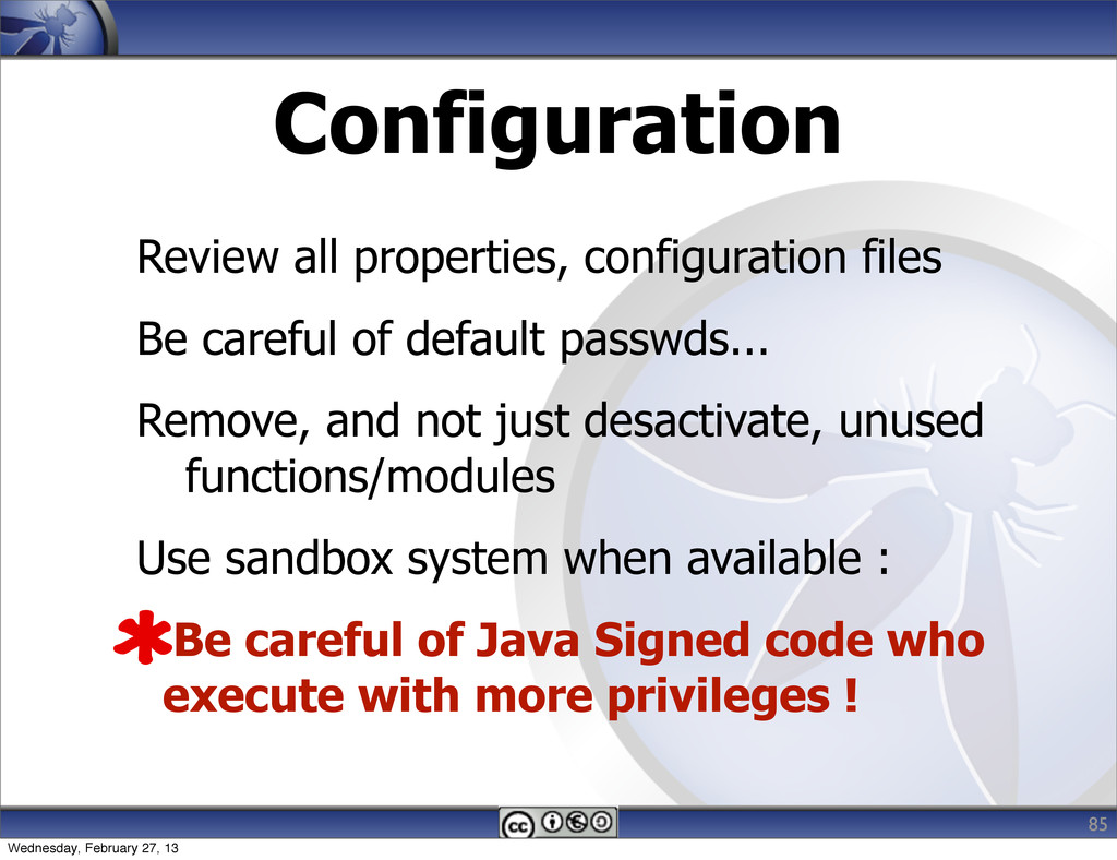 Configuration 85 Review all properties, configu...