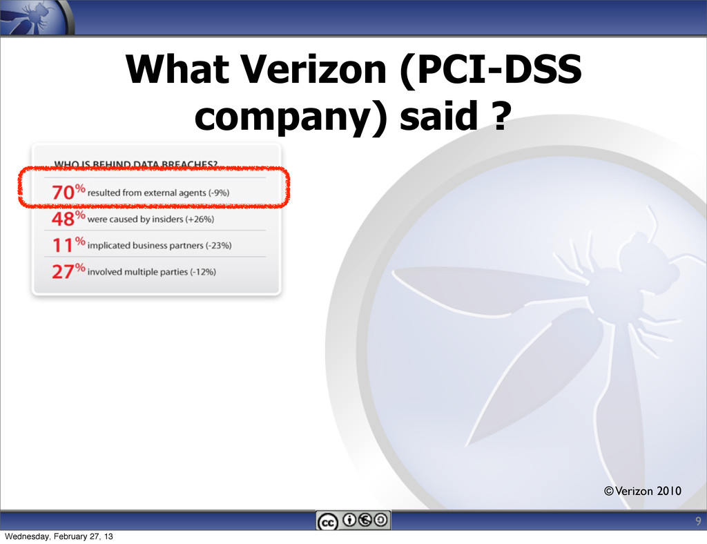 What Verizon (PCI-DSS company) said ? © Verizon...