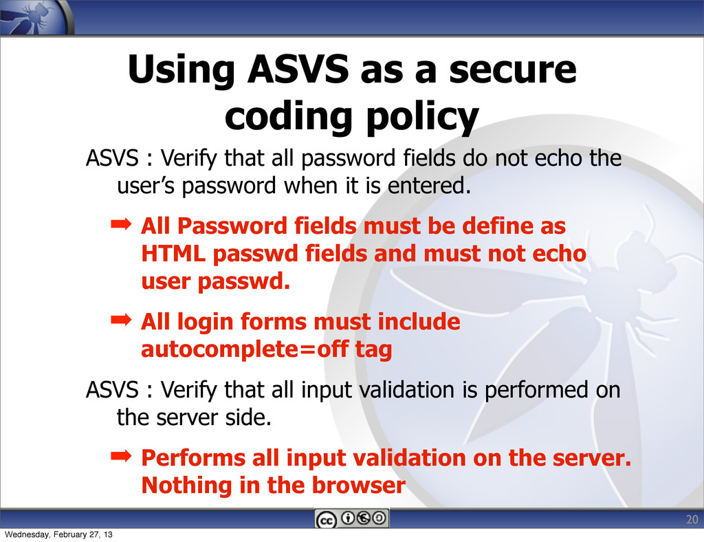 Using ASVS as a secure coding policy ASVS : Ver...