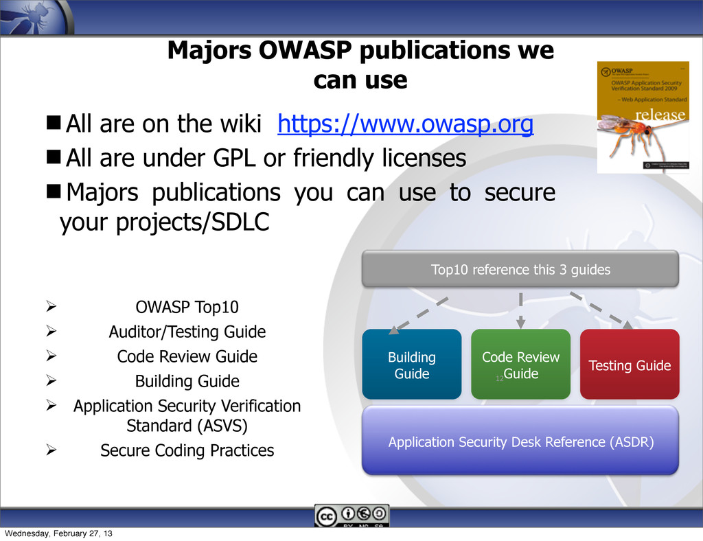Majors OWASP publications we can use All are o...