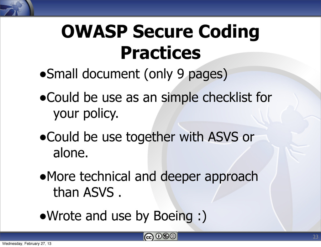 OWASP Secure Coding Practices •Small document (...