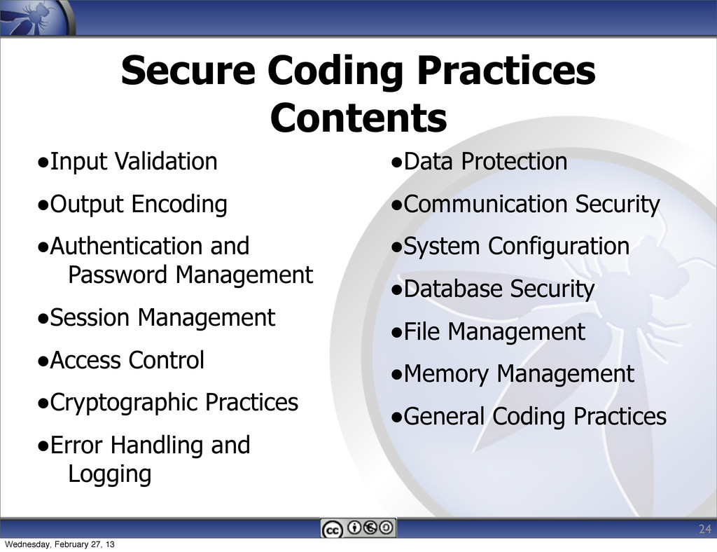 Secure Coding Practices Contents •Input Validat...