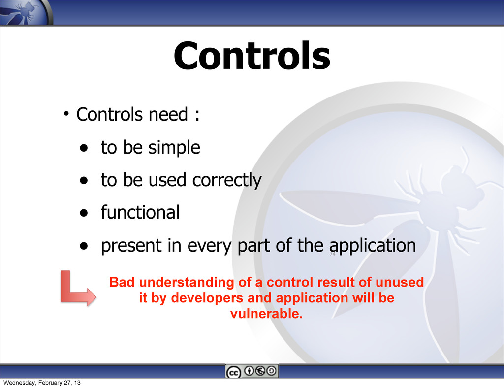 Controls • Controls need : • to be simple • to ...