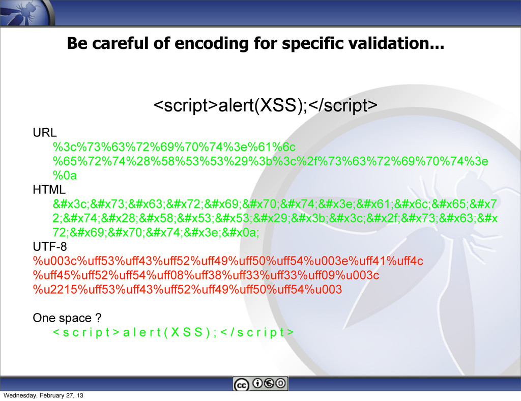 Be careful of encoding for specific validation....