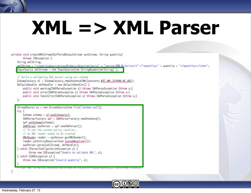 XML => XML Parser Wednesday, February 27, 13