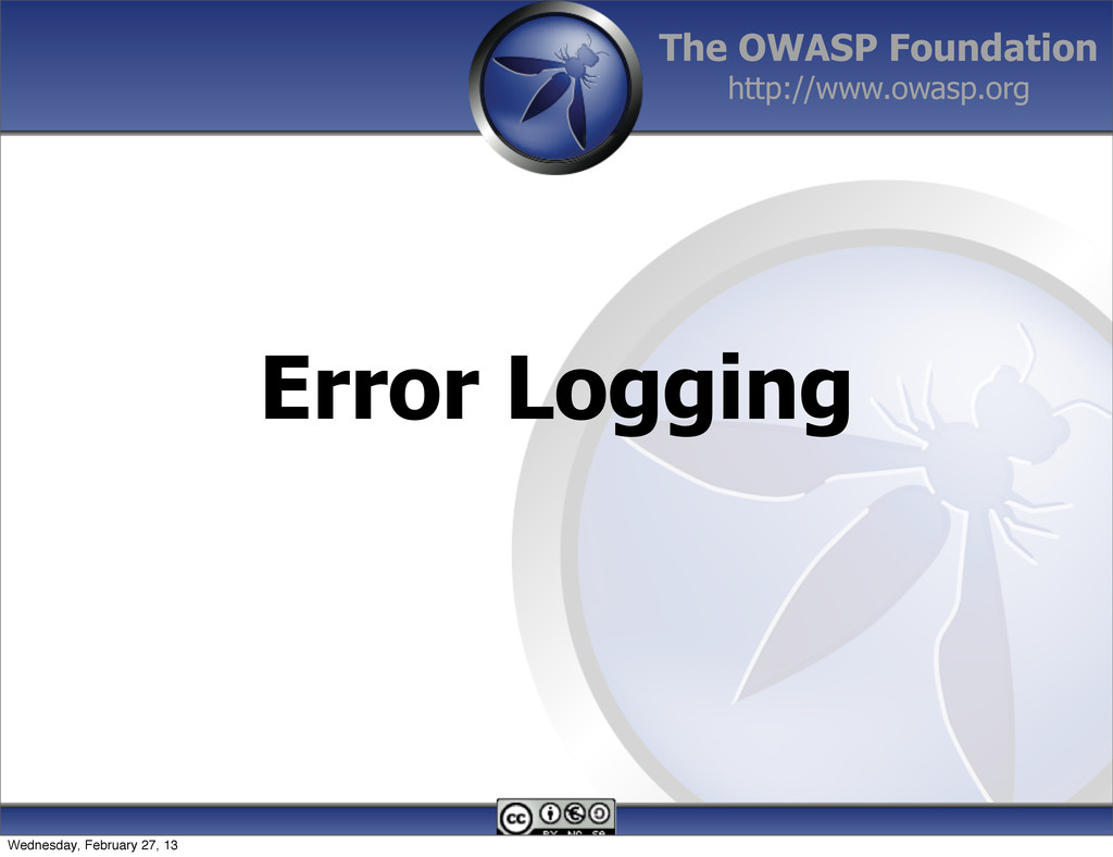 The OWASP Foundation http://www.owasp.org Error...
