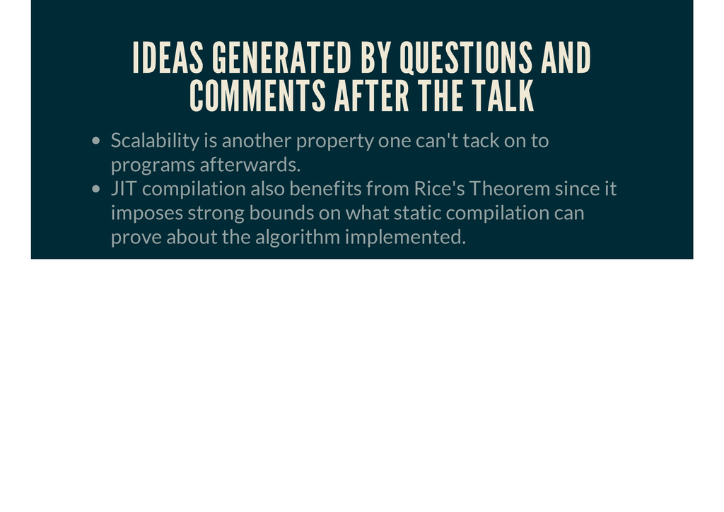 IDEAS GENERATED BY QUESTIONS AND COMMENTS AFTER...