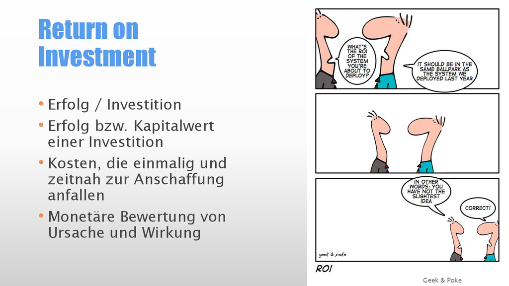 Return on Investment • Erfolg / Investition • E...