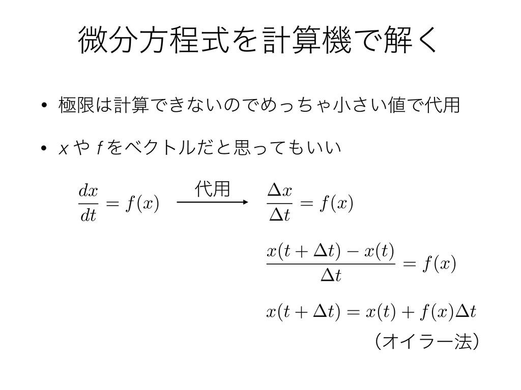 ඍํఔࣜΛܭػͰղ͘ • ۃݶܭͰ͖ͳ͍ͷͰΊͬͪΌখ͍͞Ͱ༻ x t = f(x...