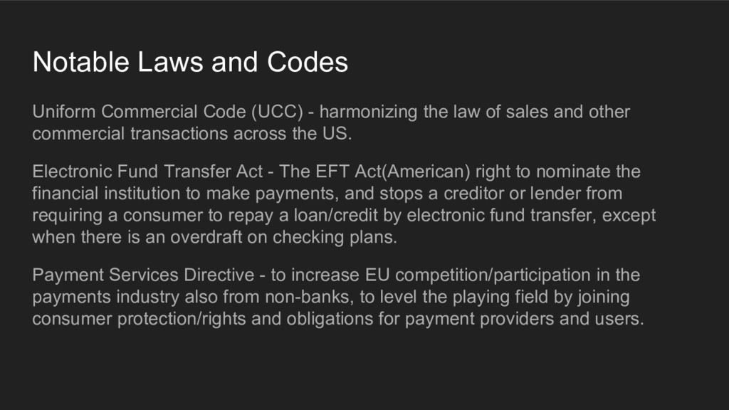 Notable Laws and Codes Uniform Commercial Code ...