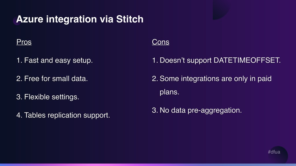 #dfua Azure integration via Stitch Pros 1. Fast...