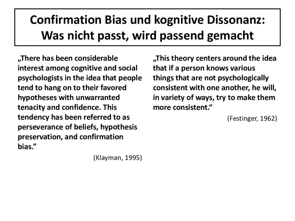 Confirmation Bias und kognitive Dissonanz: Was ...