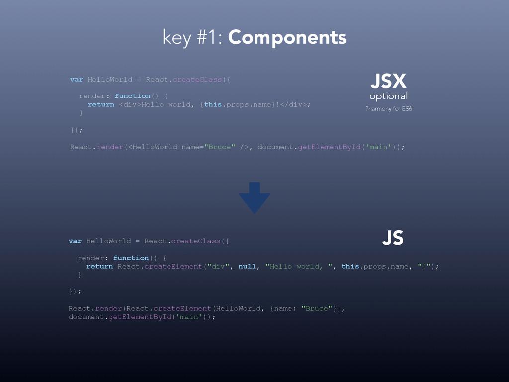 key #1: Components JSX JS optional var HelloWor...