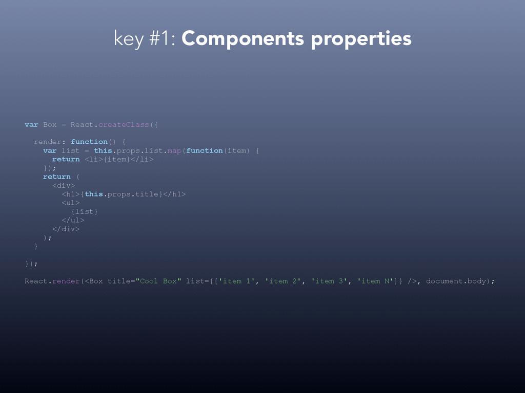 key #1: Components properties var Box = React.c...