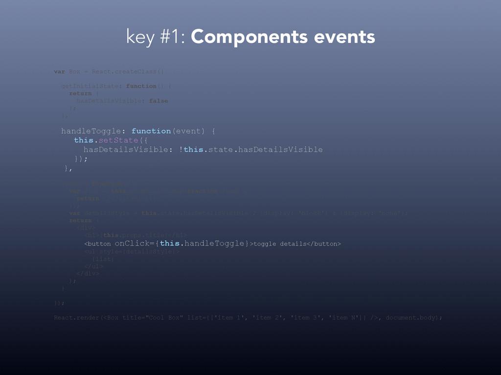 key #1: Components events var Box = React.creat...
