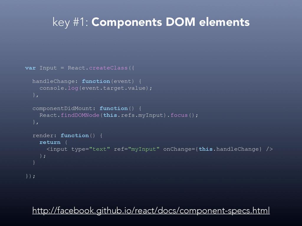 key #1: Components DOM elements var Input = Rea...