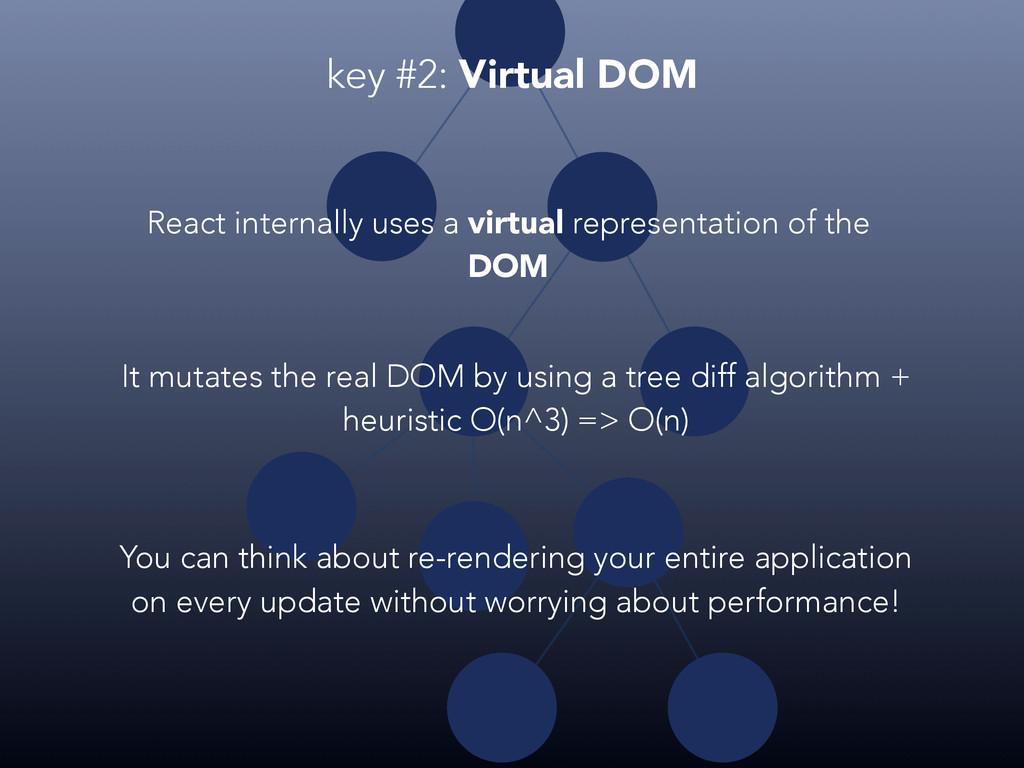 React internally uses a virtual representation ...
