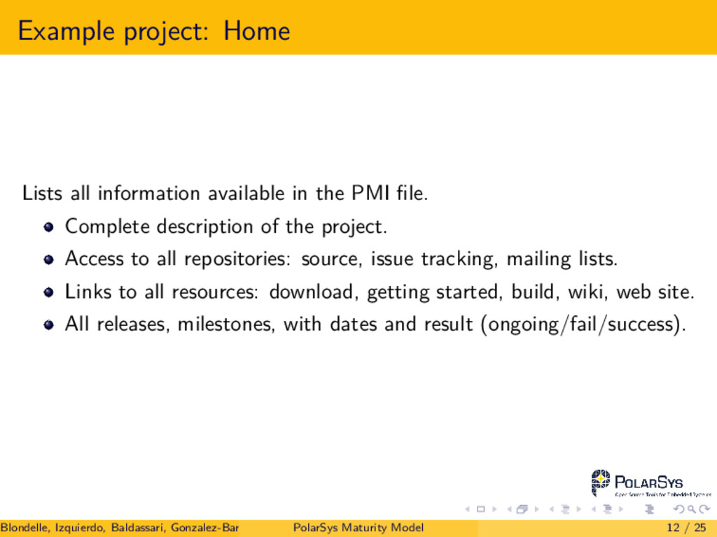 Example project: Home Lists all information ava...