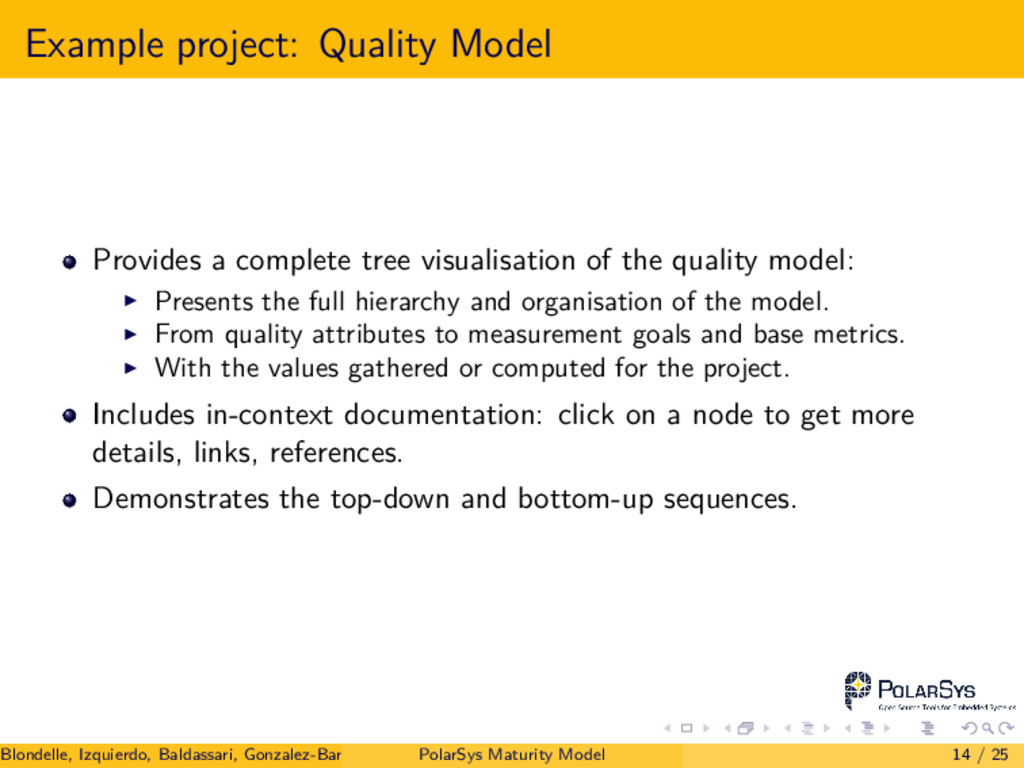 Example project: Quality Model Provides a compl...