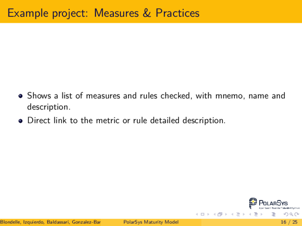 Example project: Measures & Practices Shows a l...
