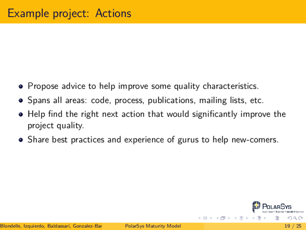 Example project: Actions Propose advice to help...