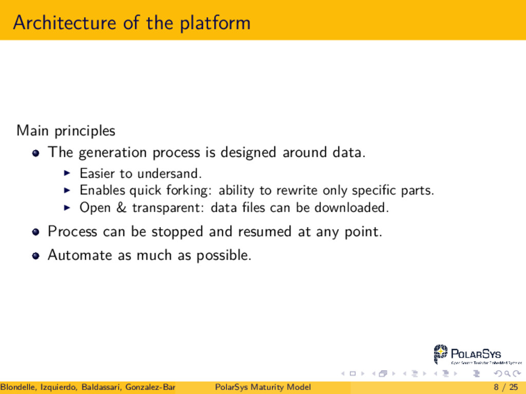 Architecture of the platform Main principles Th...
