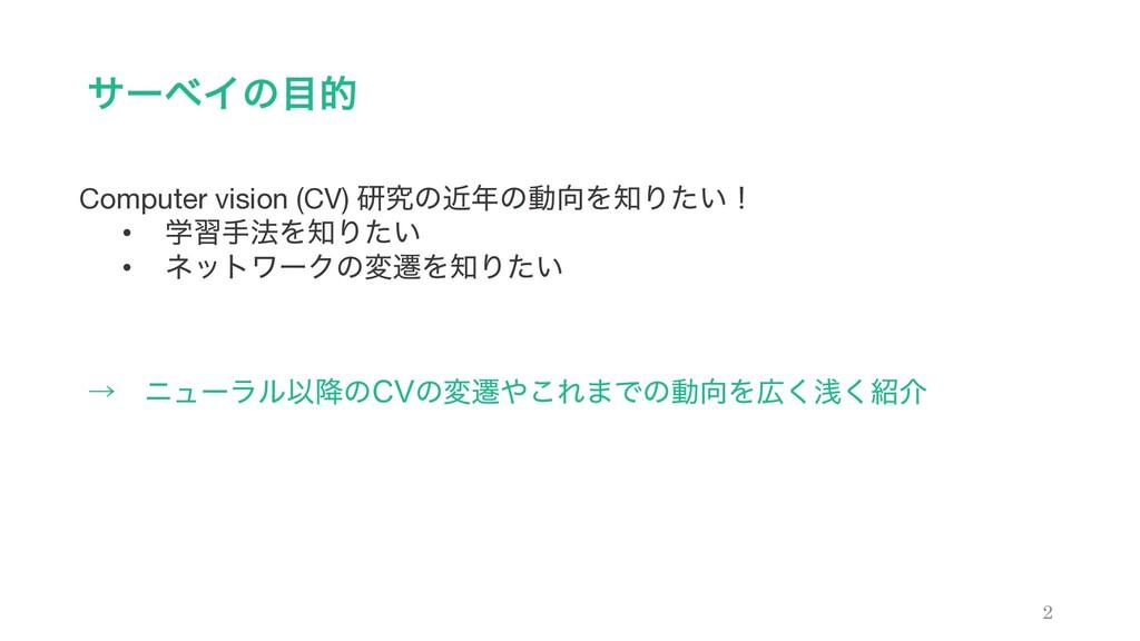 αʔϕΠͷత 2 Computer vision (CV) ݚڀͷۙͷಈΛΓ͍ͨʂ •...