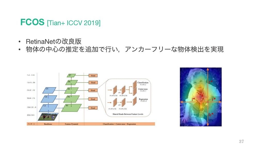 FCOS [Tian+ ICCV 2019] 37 • RetinaNetͷվྑ൛ • ମͷ...