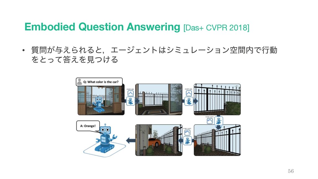 Embodied Question Answering [Das+ CVPR 2018] 56...