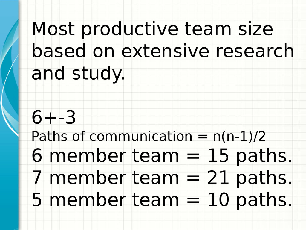 Most productive team size based on extensive re...