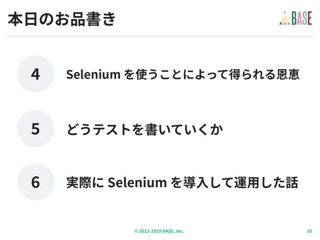 © - BASE, Inc. 本⽇のお品書き どうテストを書いていくか Selenium を使...