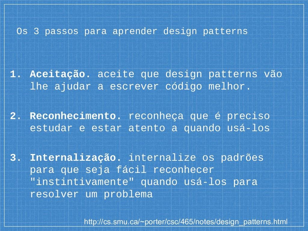 Os 3 passos para aprender design patterns 1. Ac...