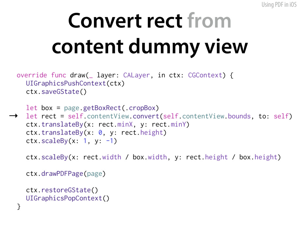 Using PDF in iOS Convert rect from 