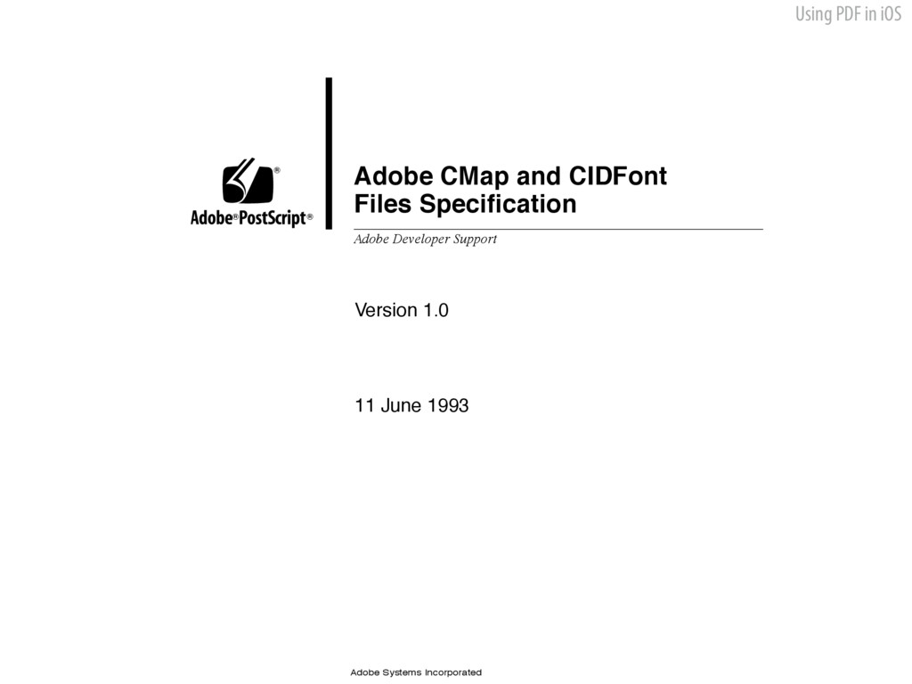 Using PDF in iOS Adobe CMap and CIDFont Files S...