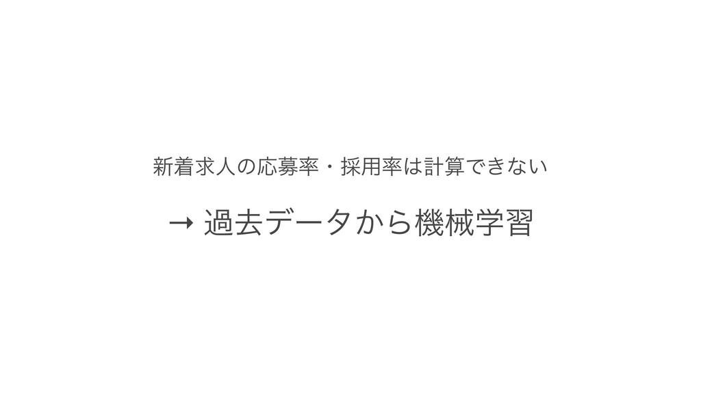 ৽ணٻਓͷԠืɾ࠾༻ܭͰ͖ͳ͍ → աڈσʔλ͔Βػցֶश