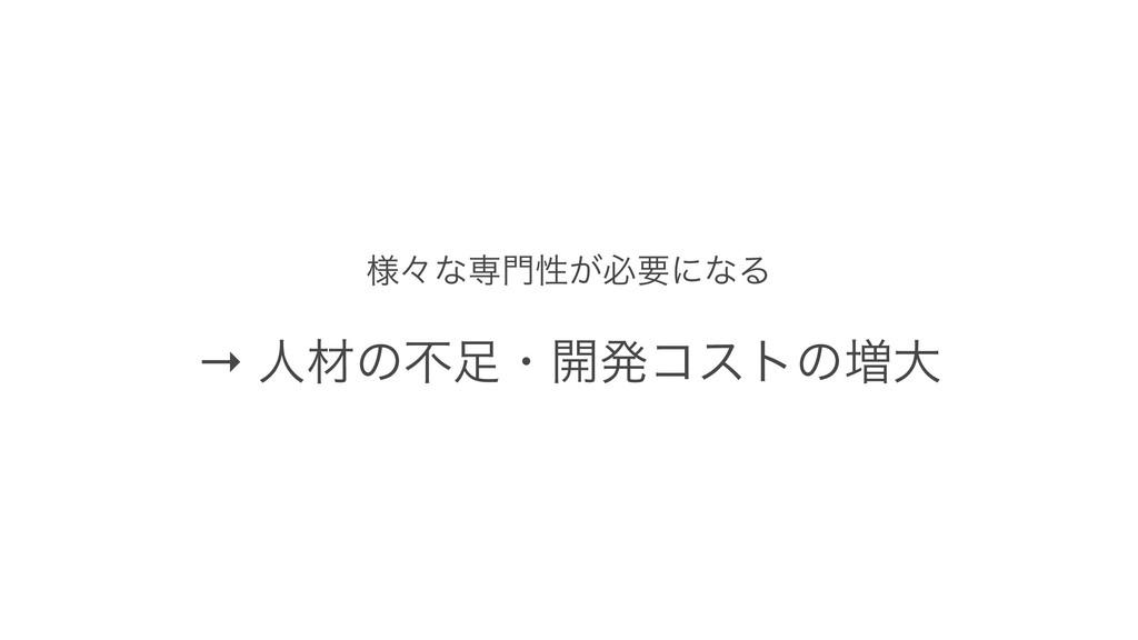 ༷ʑͳઐੑ͕ඞཁʹͳΔ → ਓࡐͷෆɾ։ൃίετͷ૿େ