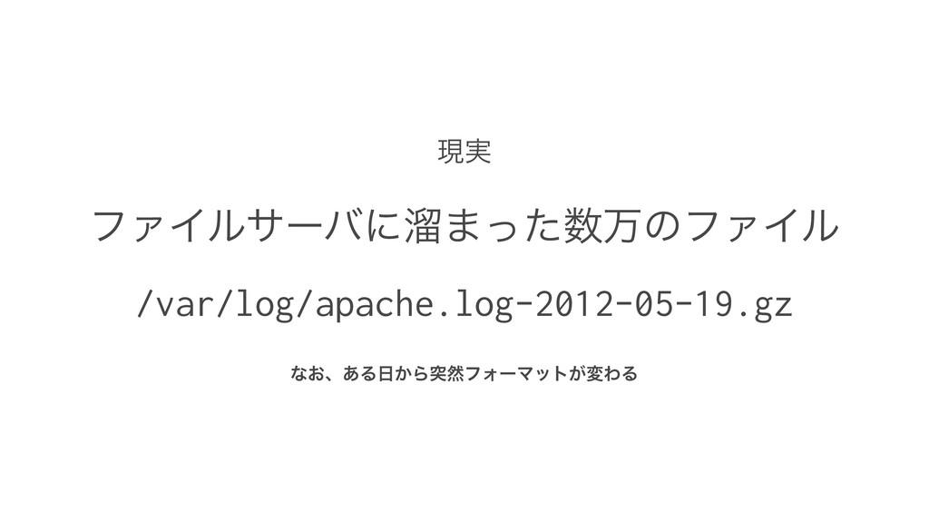 ݱ࣮ ϑΝΠϧαʔόʹཷ·ͬͨສͷϑΝΠϧ /var/log/apache.log-2012...