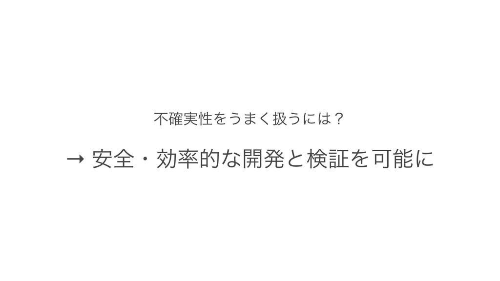 ෆ࣮֬ੑΛ͏·͘ѻ͏ʹʁ → ҆શɾޮతͳ։ൃͱݕূΛՄʹ