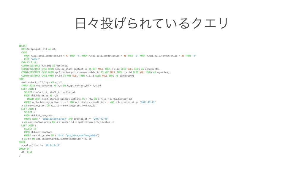 ʑ͛ΒΕ͍ͯΔΫΤϦ SELECT DATE(n_cpl.pull_at) AS dt, ...