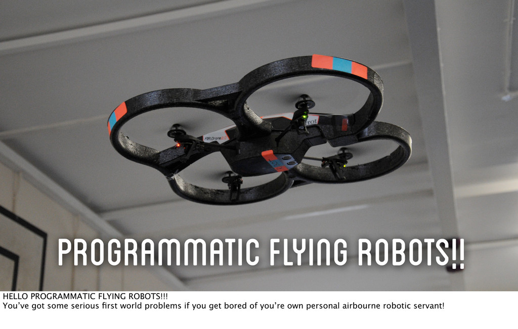 Programmatic Flying Robots!! HELLO PROGRAMMATIC...