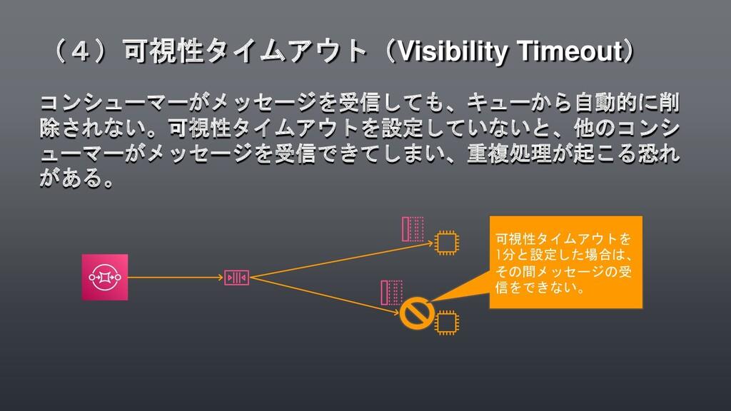 コンシューマーがメッセージを受信しても、キューから自動的に削 除されない。可視性タイムアウトを...