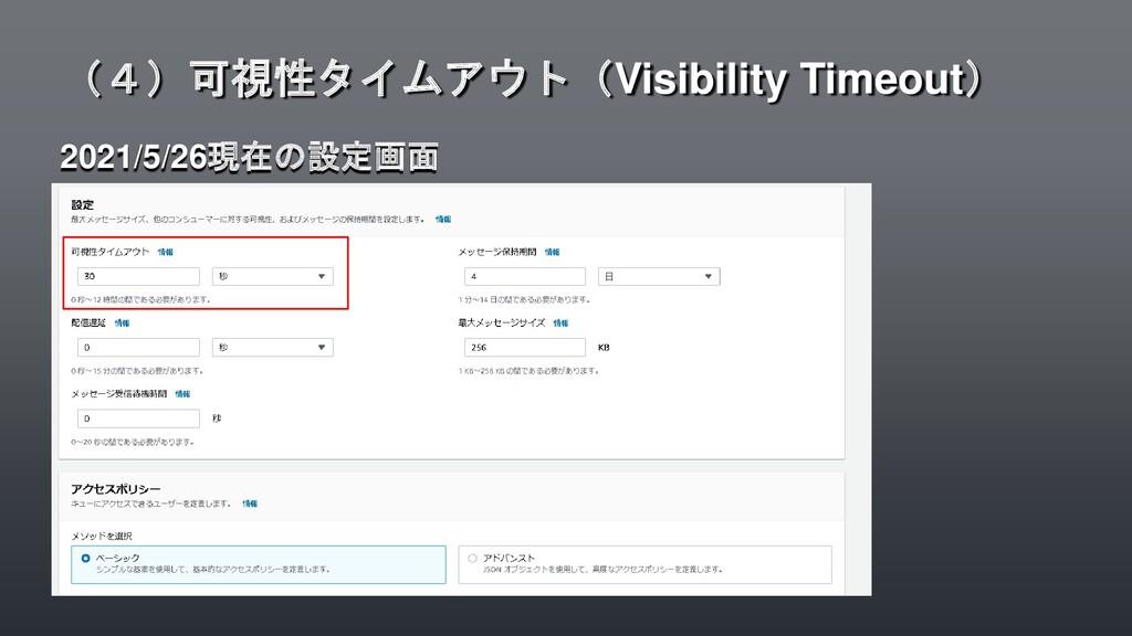 2021/5/26現在の設定画面 (4)可視性タイムアウト(Visibility Timeou...