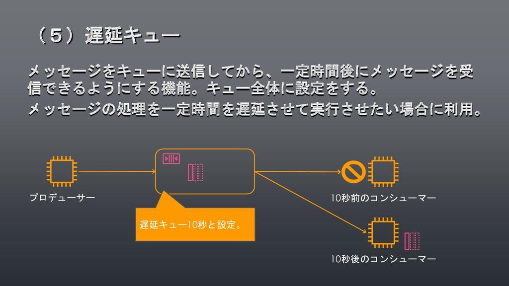 メッセージをキューに送信してから、一定時間後にメッセージを受 信できるようにする機能。キュー全...
